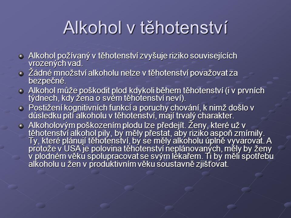 Alkohol v těhotenství Alkohol požívaný v těhotenství zvyšuje riziko souvisejících vrozených vad. Žádné množství alkoholu nelze v těhotenství považovat