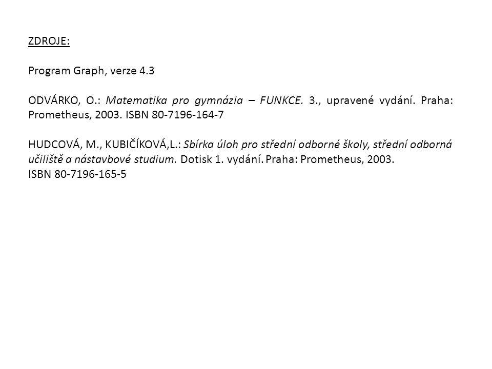 ZDROJE: Program Graph, verze 4.3 ODVÁRKO, O.: Matematika pro gymnázia – FUNKCE. 3., upravené vydání. Praha: Prometheus, 2003. ISBN 80-7196-164-7 HUDCO
