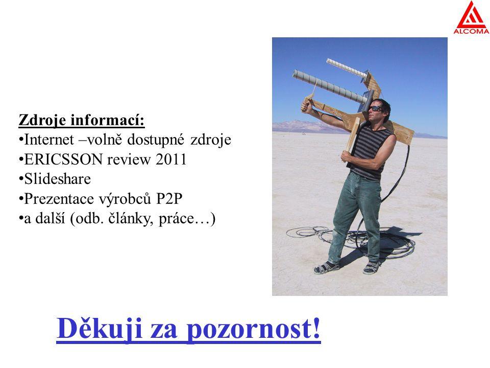 Děkuji za pozornost! Zdroje informací: Internet –volně dostupné zdroje ERICSSON review 2011 Slideshare Prezentace výrobců P2P a další (odb. články, pr