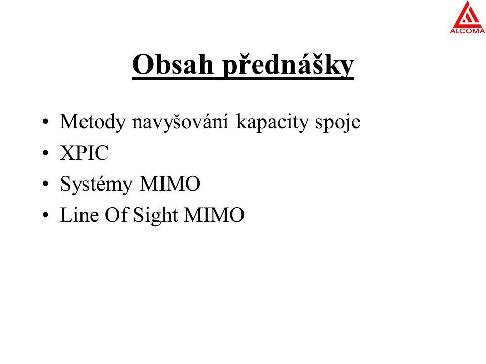 Metody navyšování kapacity spoje Neustálý tlak na navyšování datové kapacity Spektrum není nevyčerpatelný zdroj Řešení problému Zlepšení spektrální efektivity (změna modulace) .