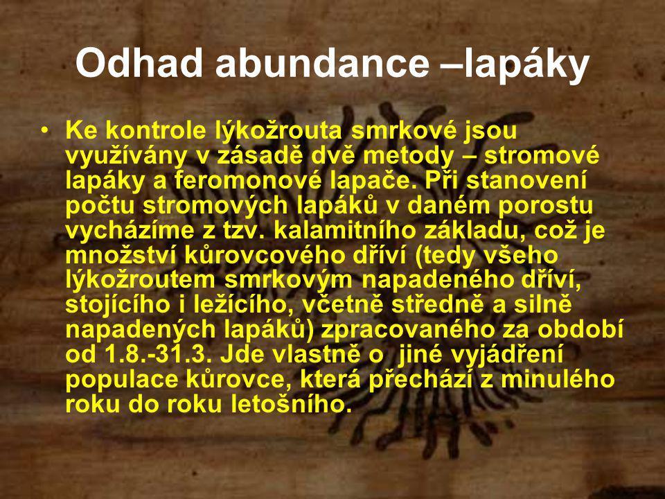 Odhad abundance –lapáky Ke kontrole lýkožrouta smrkové jsou využívány v zásadě dvě metody – stromové lapáky a feromonové lapače. Při stanovení počtu s