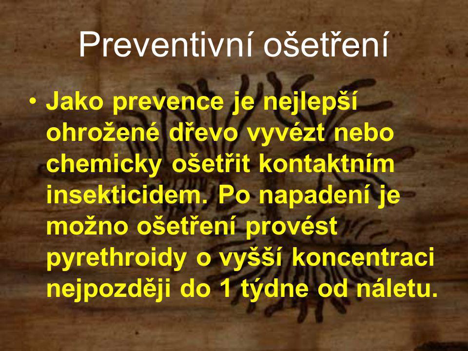 Preventivní ošetření Jako prevence je nejlepší ohrožené dřevo vyvézt nebo chemicky ošetřit kontaktním insekticidem. Po napadení je možno ošetření prov