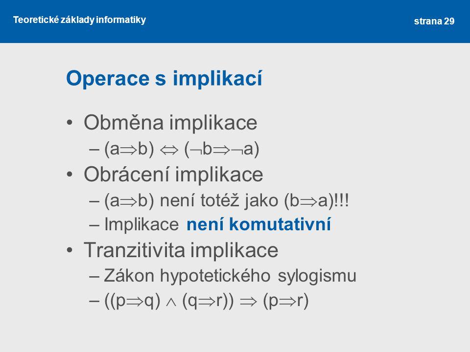 Teoretické základy informatiky Operace s implikací Obměna implikace –(a  b)  (  b  a) Obrácení implikace –(a  b) není totéž jako (b  a)!!! –Imp