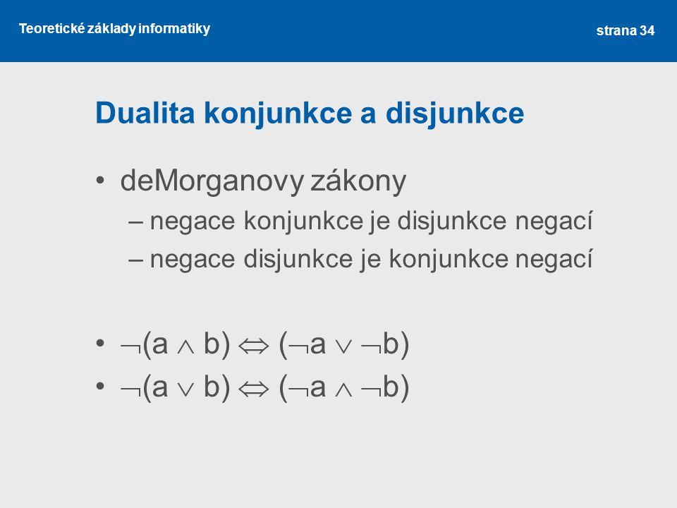 Teoretické základy informatiky Dualita konjunkce a disjunkce deMorganovy zákony –negace konjunkce je disjunkce negací –negace disjunkce je konjunkce n