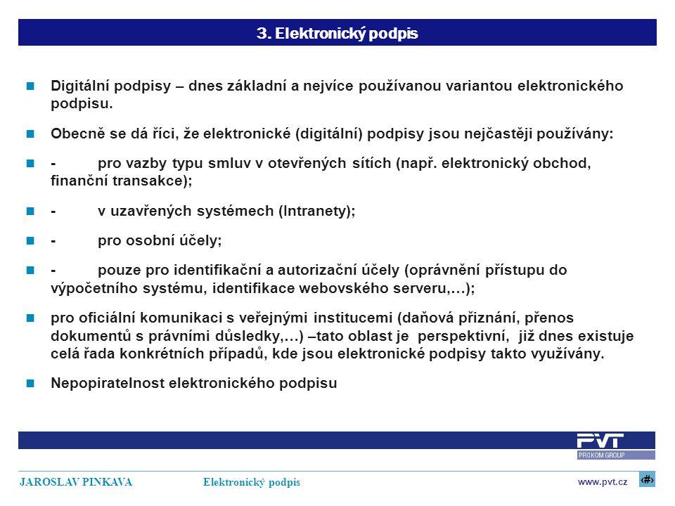 10 www.pvt.cz JAROSLAV PINKAVA Elektronický podpis 3. Elektronický podpis Digitální podpisy – dnes základní a nejvíce používanou variantou elektronick