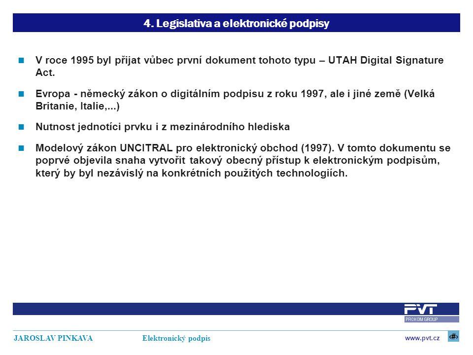 11 www.pvt.cz JAROSLAV PINKAVA Elektronický podpis 4. Legislativa a elektronické podpisy V roce 1995 byl přijat vůbec první dokument tohoto typu – UTA