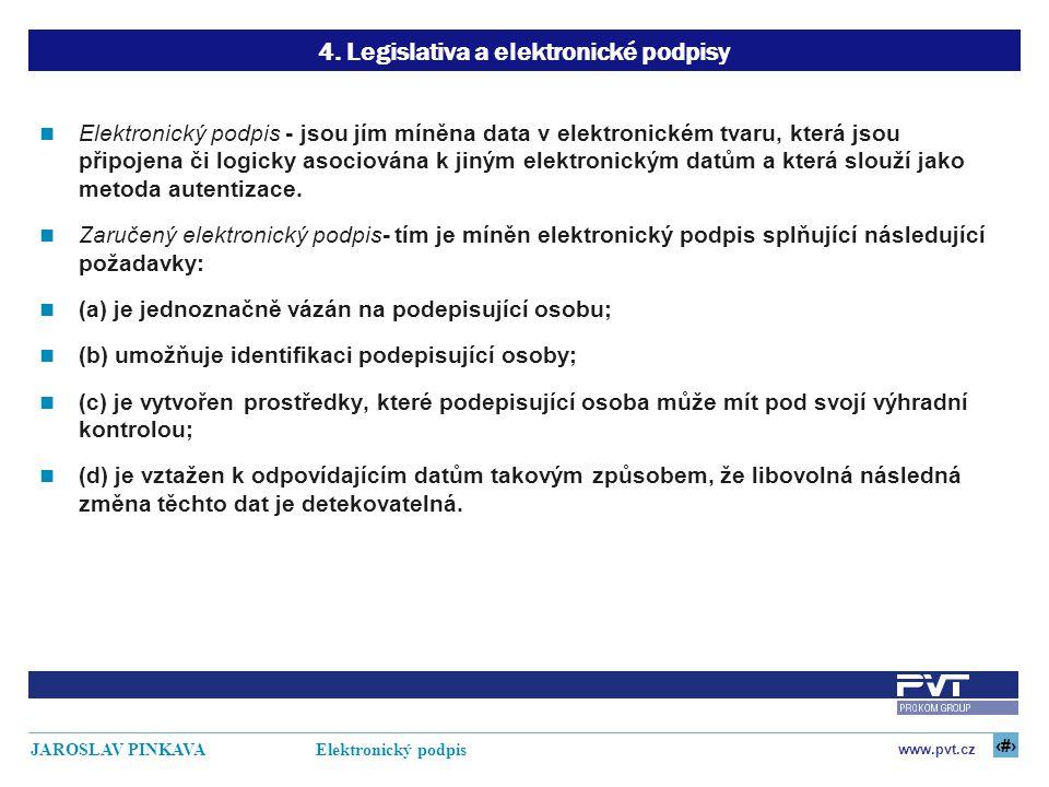 14 www.pvt.cz JAROSLAV PINKAVA Elektronický podpis 4. Legislativa a elektronické podpisy Elektronický podpis - jsou jím míněna data v elektronickém tv