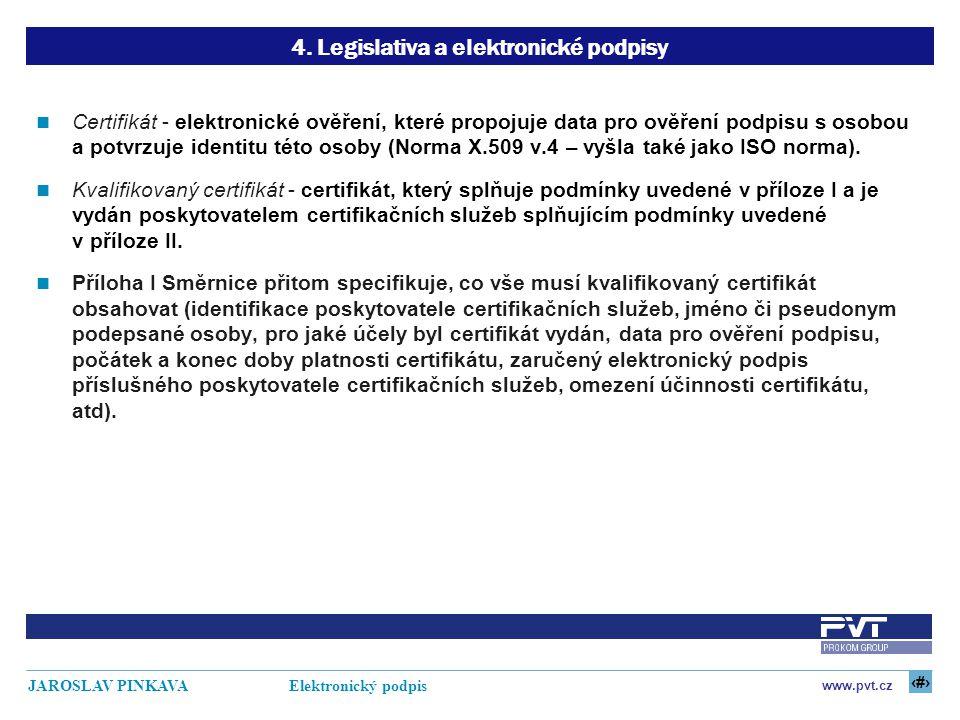 15 www.pvt.cz JAROSLAV PINKAVA Elektronický podpis 4. Legislativa a elektronické podpisy Certifikát - elektronické ověření, které propojuje data pro o