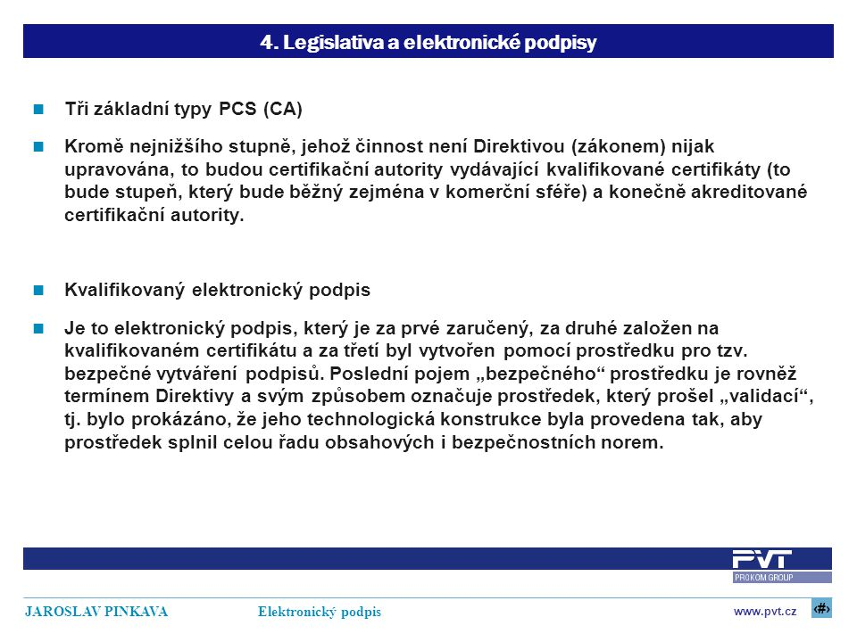 16 www.pvt.cz JAROSLAV PINKAVA Elektronický podpis 4. Legislativa a elektronické podpisy Tři základní typy PCS (CA) Kromě nejnižšího stupně, jehož čin