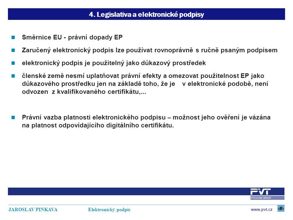 17 www.pvt.cz JAROSLAV PINKAVA Elektronický podpis 4. Legislativa a elektronické podpisy Směrnice EU - právní dopady EP Zaručený elektronický podpis l