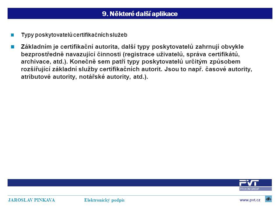 26 www.pvt.cz JAROSLAV PINKAVA Elektronický podpis 9. Některé další aplikace Typy poskytovatelů certifikačních služeb Základním je certifikační autori