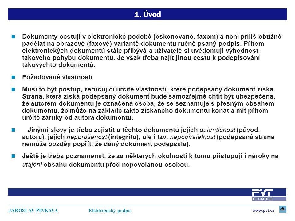 4 www.pvt.cz JAROSLAV PINKAVA Elektronický podpis 1. Úvod Dokumenty cestují v elektronické podobě (oskenované, faxem) a není příliš obtížné padělat na