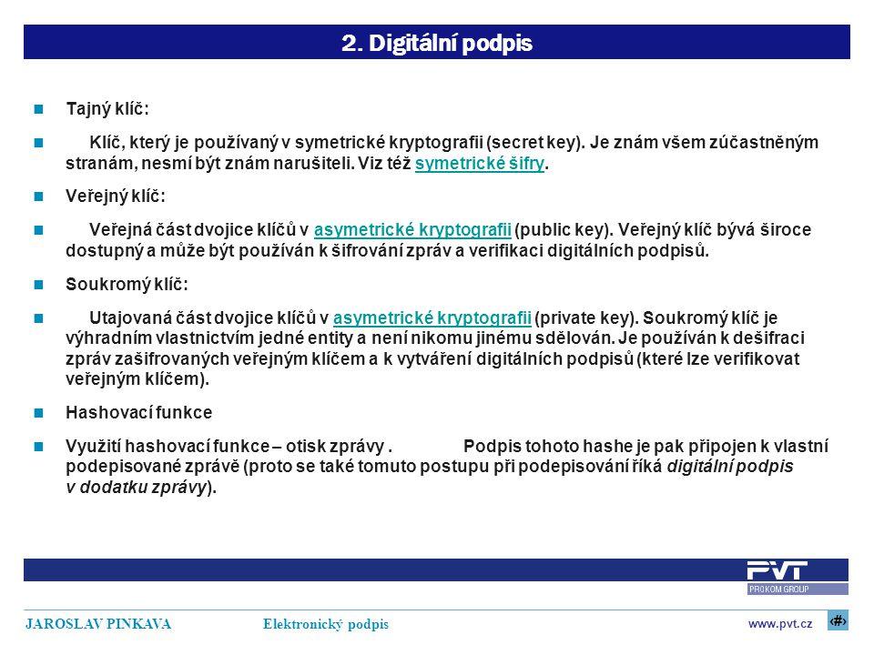 8 www.pvt.cz JAROSLAV PINKAVA Elektronický podpis 2. Digitální podpis Tajný klíč: Klíč, který je používaný v symetrické kryptografii (secret key). Je