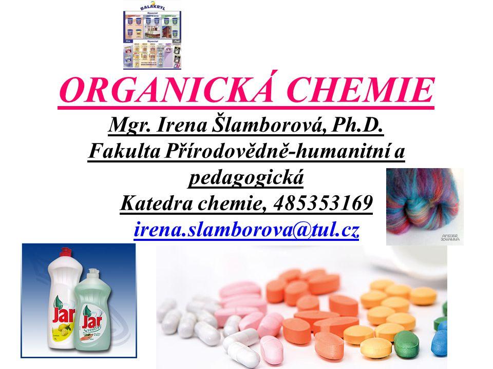 ORGANICKÁ CHEMIE – zasahuje prakticky do všech oblastí lidské činnosti - plasty - výbušniny - léčiva - barviva - detergenty - rozpouštědla - syntetická vlákna - aditiva - nátěrové látky - pesticity a další