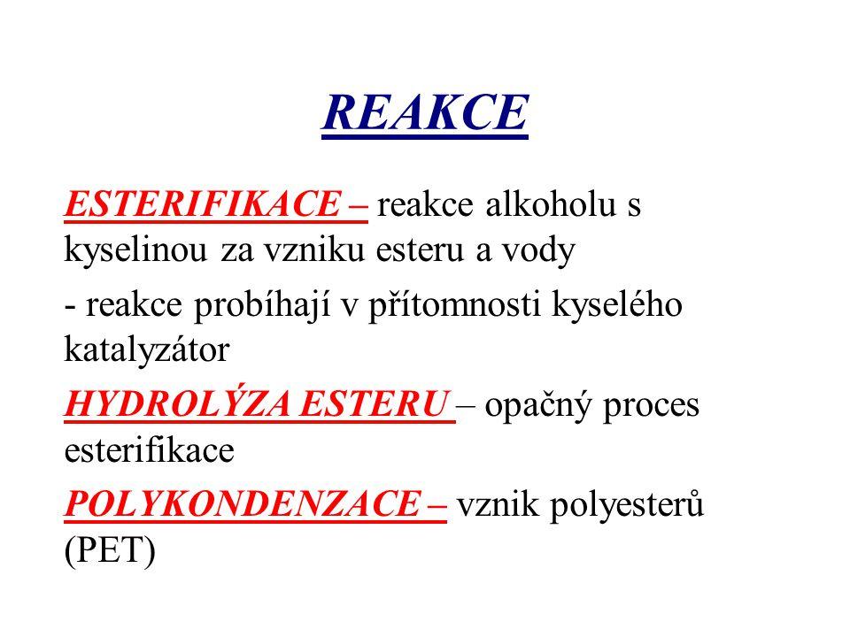 REAKCE ESTERIFIKACE – reakce alkoholu s kyselinou za vzniku esteru a vody - reakce probíhají v přítomnosti kyselého katalyzátor HYDROLÝZA ESTERU – opa
