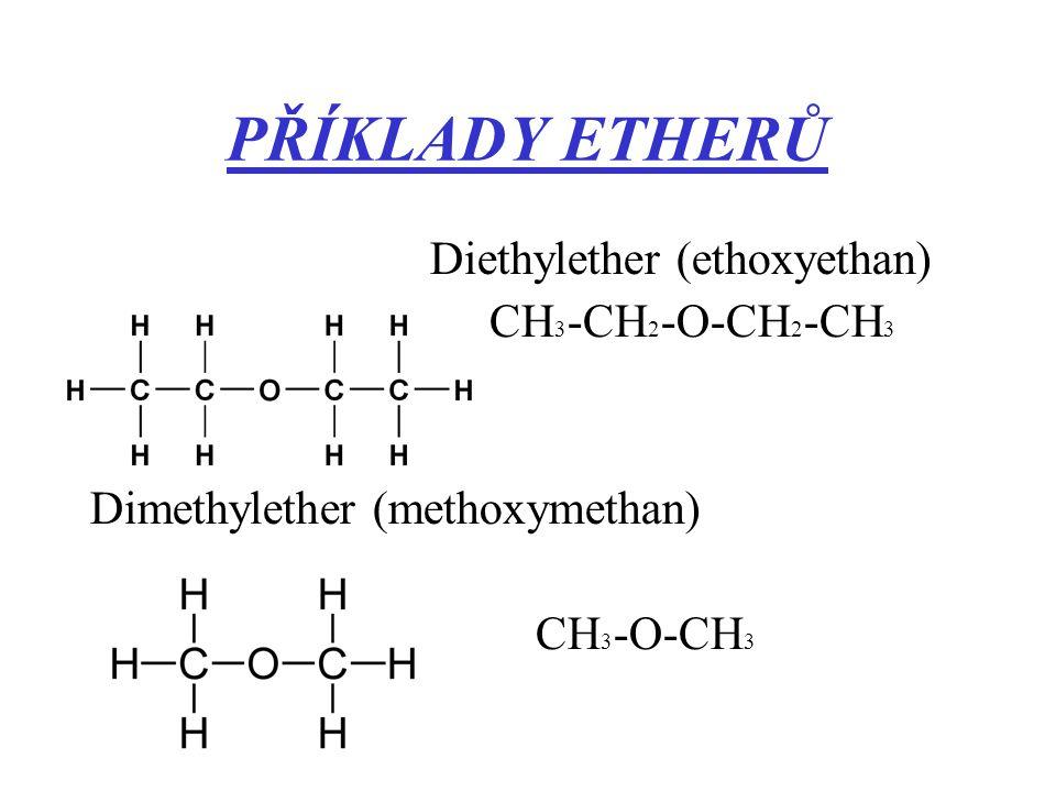 PŘÍKLADY ETHERŮ Diethylether (ethoxyethan) CH 3 -CH 2 -O-CH 2 -CH 3 Dimethylether (methoxymethan) CH 3 -O-CH 3