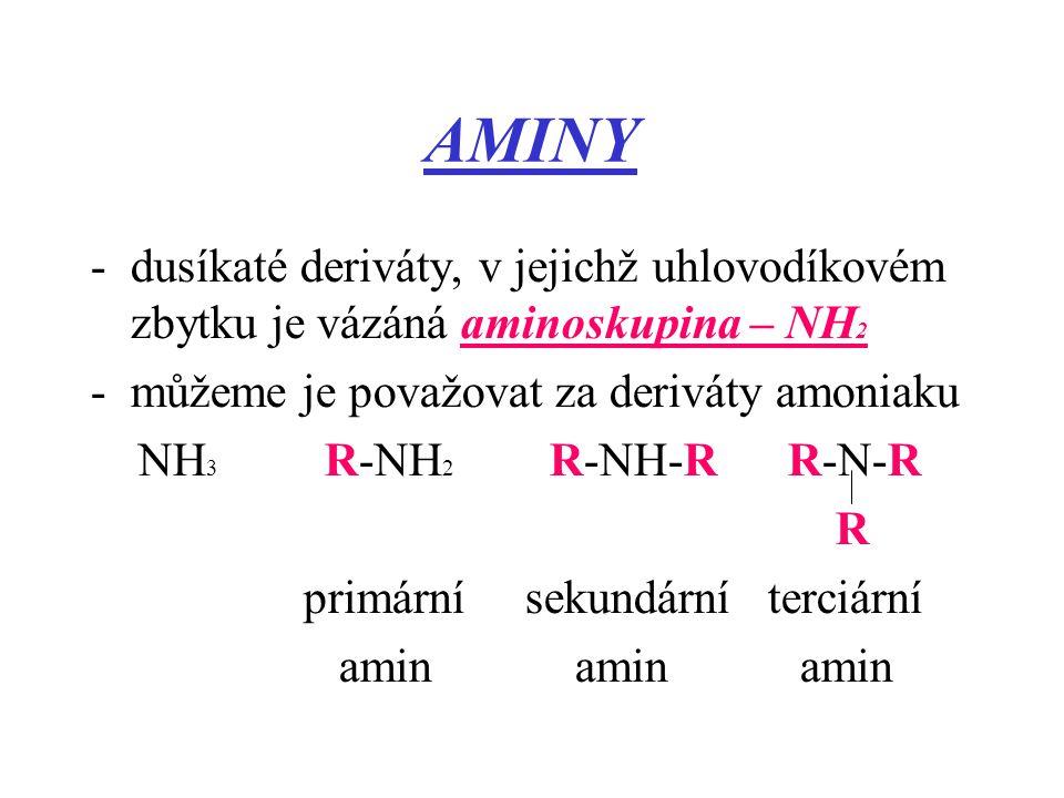 AMINY -dusíkaté deriváty, v jejichž uhlovodíkovém zbytku je vázáná aminoskupina – NH 2 -můžeme je považovat za deriváty amoniaku NH 3 R-NH 2 R-NH-R R-