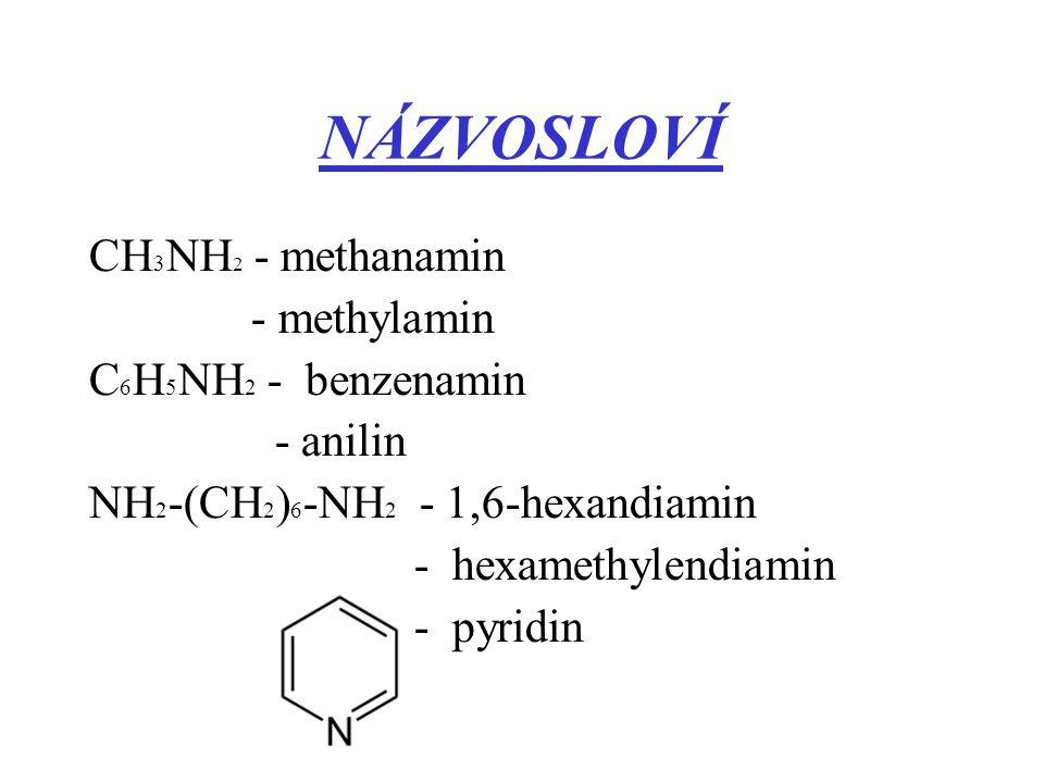 NÁZVOSLOVÍ CH 3 NH 2 - methanamin - methylamin C 6 H 5 NH 2 - benzenamin - anilin NH 2 -(CH 2 ) 6 -NH 2 - 1,6-hexandiamin - hexamethylendiamin - pyrid