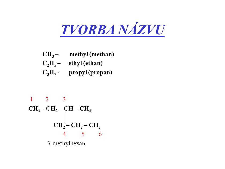 TVORBA NÁZVU CH 3 – methyl (methan) C 2 H 5 – ethyl (ethan) C 3 H 7 - propyl (propan) 1 2 3 CH 3 – CH 2 – CH – CH 3 CH 2 – CH 2 – CH 3 4 5 6 3-meth