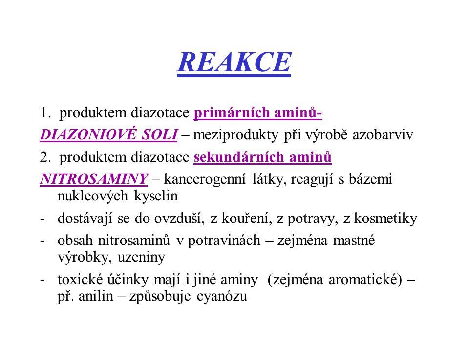 REAKCE 1. produktem diazotace primárních aminů- DIAZONIOVÉ SOLI – meziprodukty při výrobě azobarviv 2. produktem diazotace sekundárních aminů NITROSAM