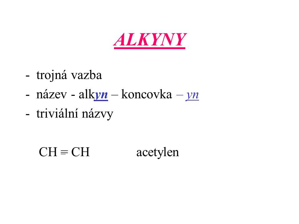 ALKYNY - trojná vazba - název - alkyn – koncovka – yn -triviální názvy CH = CH acetylen