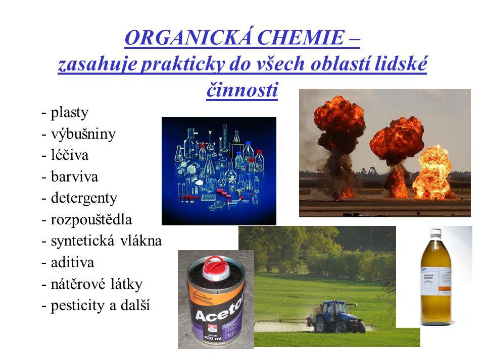 ORGANICKÁ CHEMIE – zasahuje prakticky do všech oblastí lidské činnosti - plasty - výbušniny - léčiva - barviva - detergenty - rozpouštědla - syntetick