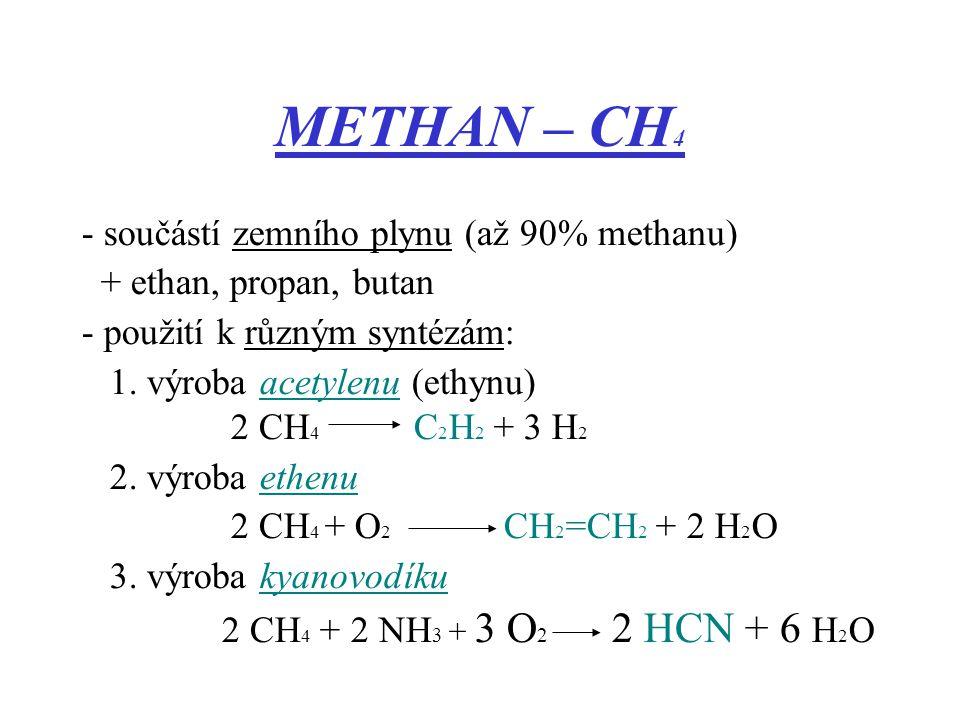 - součástí zemního plynu (až 90% methanu) + ethan, propan, butan - použití k různým syntézám: 1. výroba acetylenu (ethynu) 2 CH 4 C 2 H 2 + 3 H 2 2.