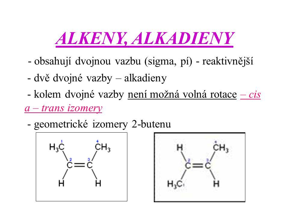 ALKENY, ALKADIENY - obsahují dvojnou vazbu (sigma, pí) - reaktivnější - dvě dvojné vazby – alkadieny - kolem dvojné vazby není možná volná rotace – ci