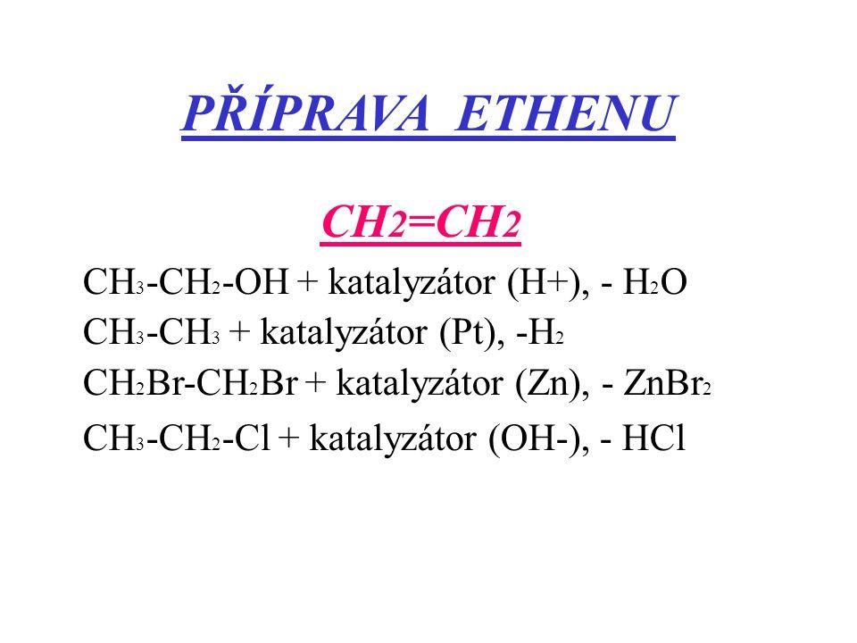 PŘÍPRAVA ETHENU CH 2 =CH 2 CH 3 -CH 2 -OH + katalyzátor (H+), - H 2 O CH 3 -CH 3 + katalyzátor (Pt), -H 2 CH 2 Br-CH 2 Br + katalyzátor (Zn), - ZnBr 2