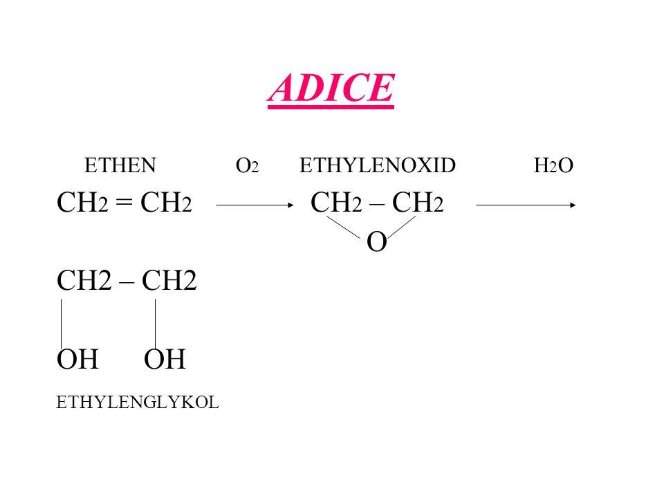 ADICE ETHEN O 2 ETHYLENOXID H 2 O CH 2 = CH 2 CH 2 – CH 2 O CH2 – CH2 OH ETHYLENGLYKOL