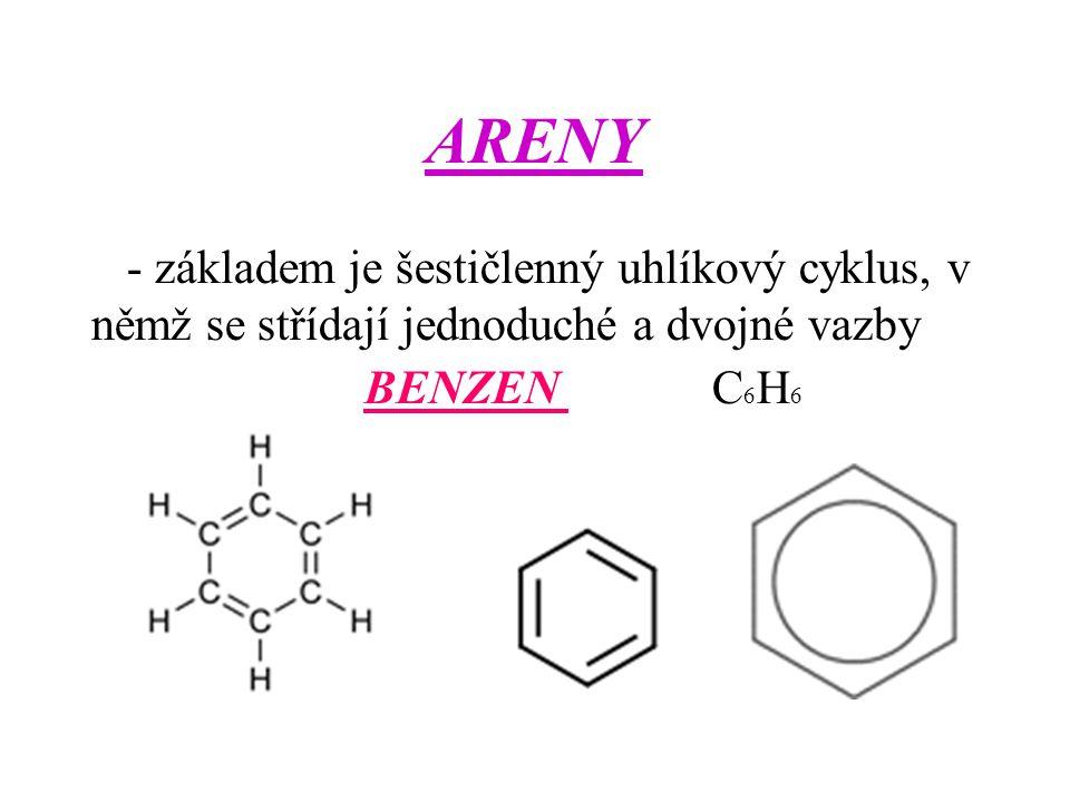 ARENY - základem je šestičlenný uhlíkový cyklus, v němž se střídají jednoduché a dvojné vazby BENZEN C 6 H 6