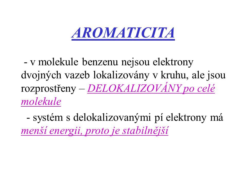 AROMATICITA - v molekule benzenu nejsou elektrony dvojných vazeb lokalizovány v kruhu, ale jsou rozprostřeny – DELOKALIZOVÁNY po celé molekule - systé