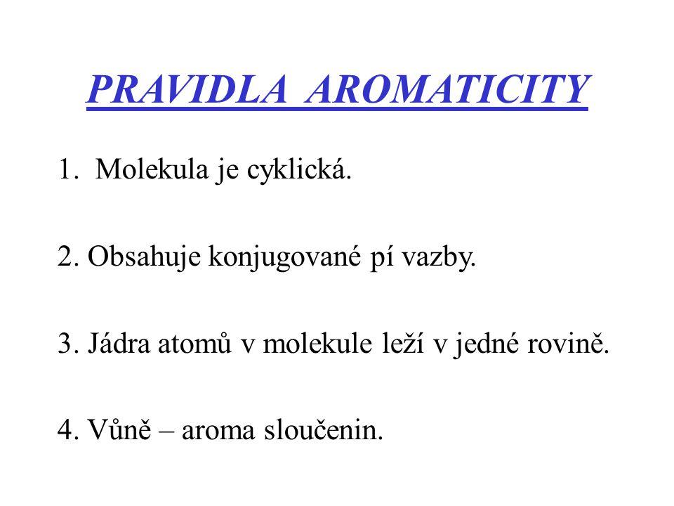PRAVIDLA AROMATICITY 1.Molekula je cyklická. 2. Obsahuje konjugované pí vazby. 3. Jádra atomů v molekule leží v jedné rovině. 4. Vůně – aroma sloučeni