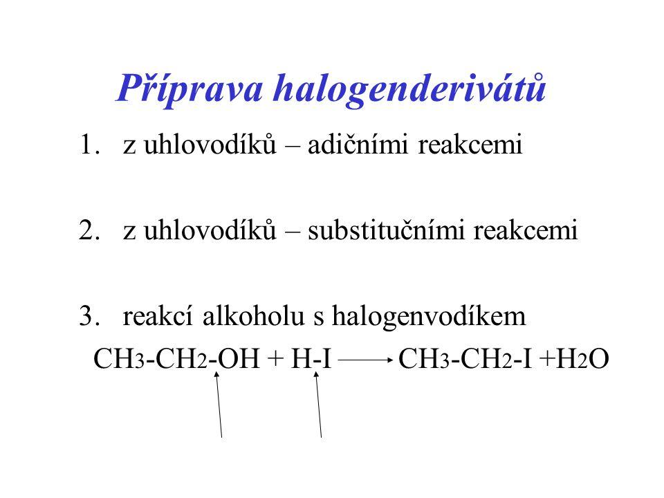 Příprava halogenderivátů 1.z uhlovodíků – adičními reakcemi 2. z uhlovodíků – substitučními reakcemi 3.reakcí alkoholu s halogenvodíkem CH 3 -CH 2 -OH