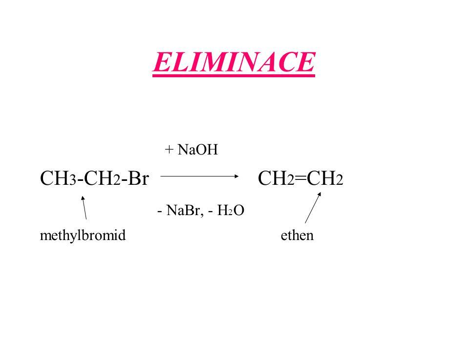 ELIMINACE + NaOH CH 3 -CH 2 -Br CH 2 =CH 2 - NaBr, - H 2 O methylbromid ethen