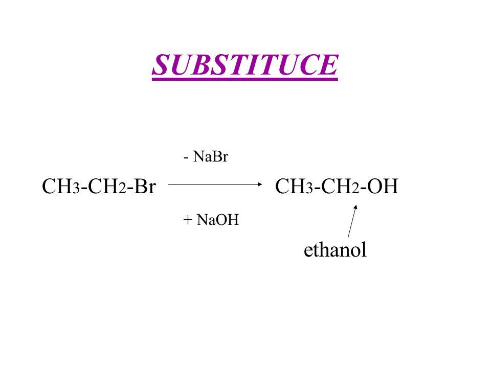 SUBSTITUCE - NaBr CH 3 -CH 2 -Br CH 3 -CH 2 -OH + NaOH ethanol