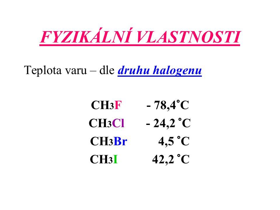 FYZIKÁLNÍ VLASTNOSTI Teplota varu – dle druhu halogenu CH 3 F - 78,4°C CH 3 Cl - 24,2 °C CH 3 Br 4,5 °C CH 3 I 42,2 °C