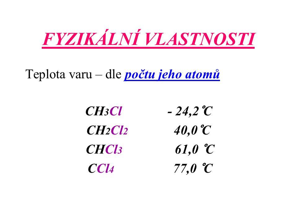 FYZIKÁLNÍ VLASTNOSTI Teplota varu – dle počtu jeho atomů CH 3 Cl - 24,2°C CH 2 Cl 2 40,0°C CHCl 3 61,0 °C CCl 4 77,0 °C