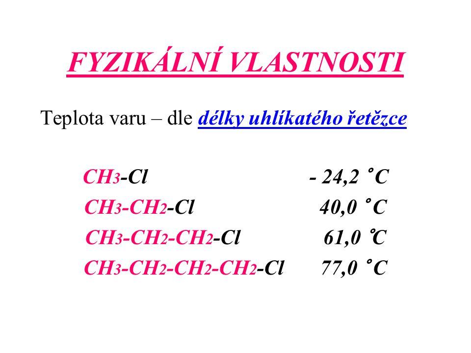 FYZIKÁLNÍ VLASTNOSTI Teplota varu – dle délky uhlíkatého řetězce CH 3 -Cl - 24,2 ° C CH 3 -CH 2 -Cl 40,0 ° C CH 3 -CH 2 -CH 2 -Cl 61,0 °C CH 3 -CH 2 -