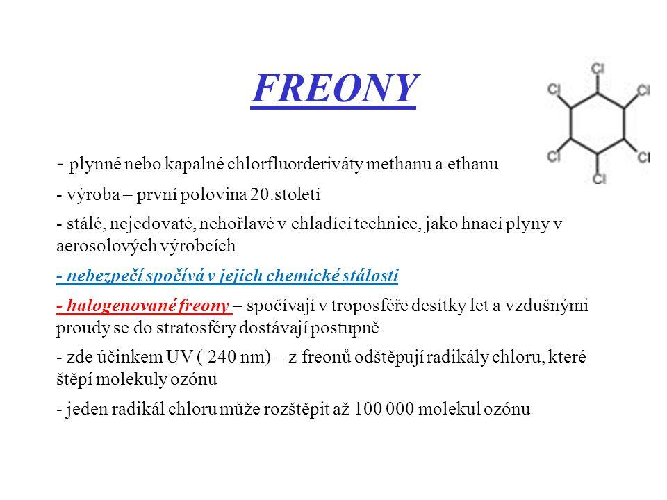 FREONY - plynné nebo kapalné chlorfluorderiváty methanu a ethanu - výroba – první polovina 20.století - stálé, nejedovaté, nehořlavé v chladící techni