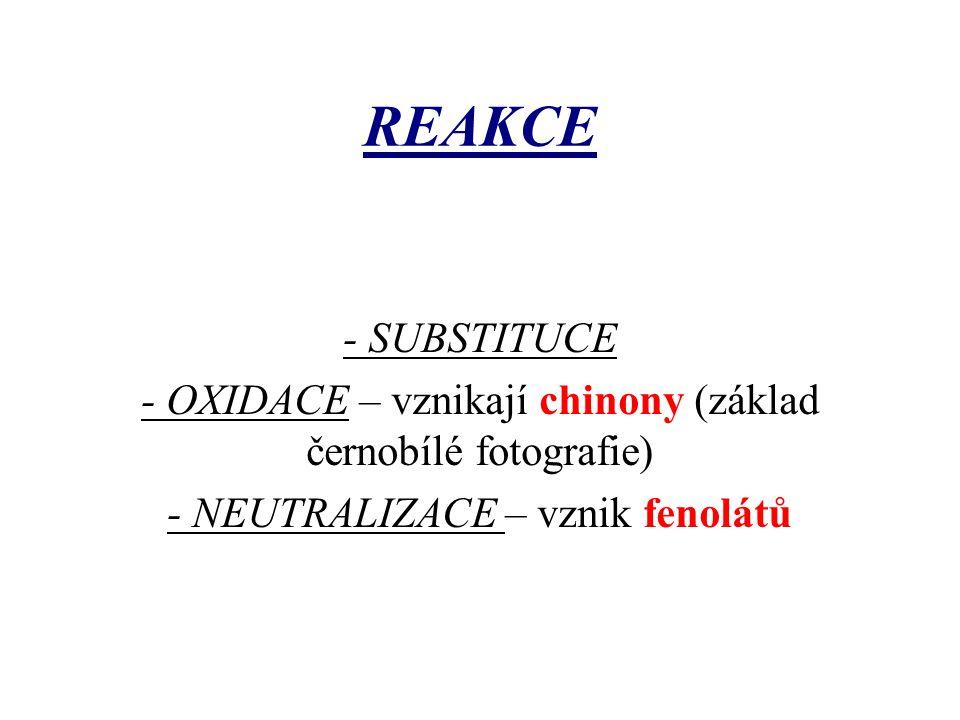 REAKCE - SUBSTITUCE - OXIDACE – vznikají chinony (základ černobílé fotografie) - NEUTRALIZACE – vznik fenolátů