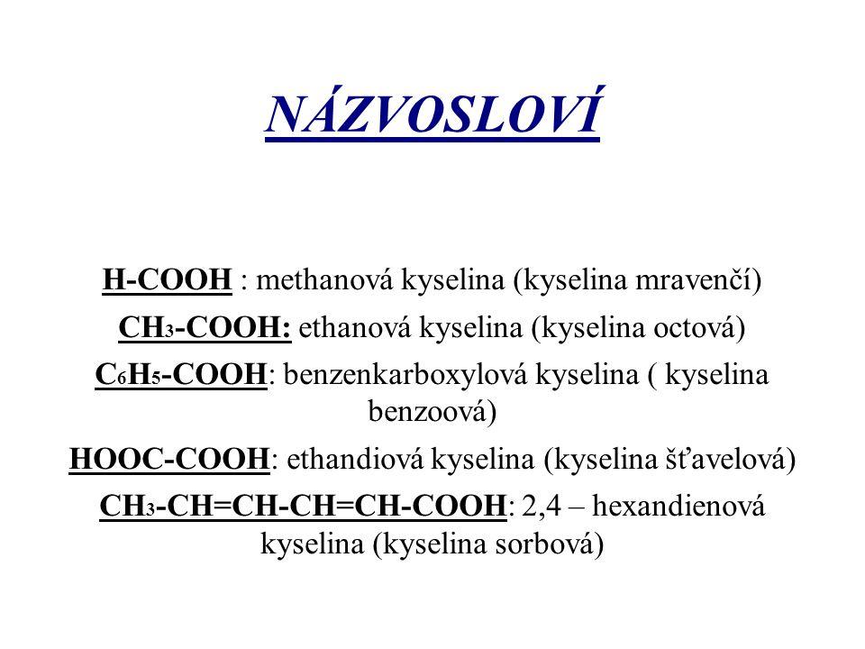 NÁZVOSLOVÍ H-COOH : methanová kyselina (kyselina mravenčí) CH 3 -COOH: ethanová kyselina (kyselina octová) C 6 H 5 -COOH: benzenkarboxylová kyselina (