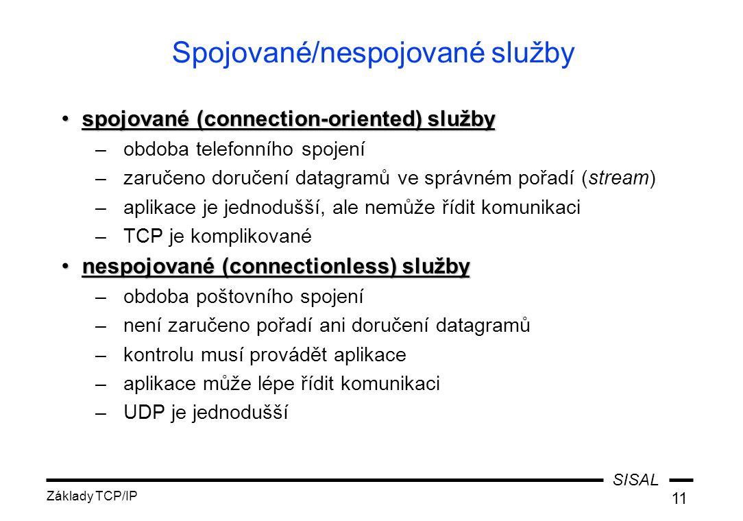 SISAL Základy TCP/IP 11 Spojované/nespojované služby spojované (connection-oriented) službyspojované (connection-oriented) služby –obdoba telefonního spojení –zaručeno doručení datagramů ve správném pořadí (stream) –aplikace je jednodušší, ale nemůže řídit komunikaci –TCP je komplikované nespojované (connectionless) službynespojované (connectionless) služby –obdoba poštovního spojení –není zaručeno pořadí ani doručení datagramů –kontrolu musí provádět aplikace –aplikace může lépe řídit komunikaci –UDP je jednodušší