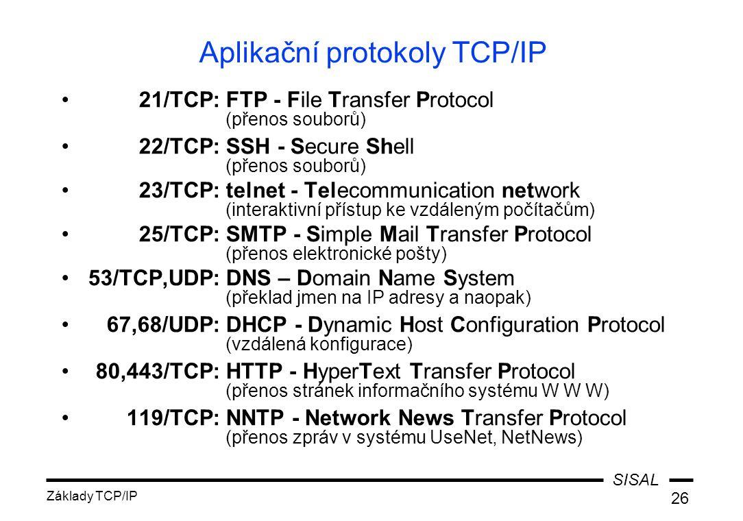 SISAL Základy TCP/IP 26 Aplikační protokoly TCP/IP 21/TCP:FTP - File Transfer Protocol (přenos souborů) 22/TCP:SSH - Secure Shell (přenos souborů) 23/TCP:telnet - Telecommunication network (interaktivní přístup ke vzdáleným počítačům) 25/TCP:SMTP - Simple Mail Transfer Protocol (přenos elektronické pošty) 53/TCP,UDP:DNS – Domain Name System (překlad jmen na IP adresy a naopak) 67,68/UDP:DHCP - Dynamic Host Configuration Protocol (vzdálená konfigurace) 80,443/TCP:HTTP - HyperText Transfer Protocol (přenos stránek informačního systému W W W) 119/TCP:NNTP - Network News Transfer Protocol (přenos zpráv v systému UseNet, NetNews)