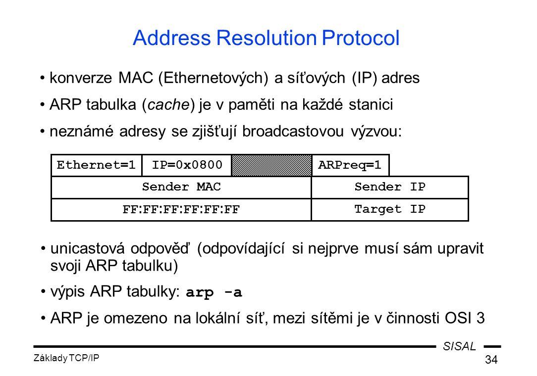 SISAL Základy TCP/IP 34 Address Resolution Protocol konverze MAC (Ethernetových) a síťových (IP) adres ARP tabulka (cache) je v paměti na každé stanici neznámé adresy se zjišťují broadcastovou výzvou: unicastová odpověď (odpovídající si nejprve musí sám upravit svoji ARP tabulku) výpis ARP tabulky: arp -a ARP je omezeno na lokální síť, mezi sítěmi je v činnosti OSI 3 Ethernet=1IP=0x0800ARPreq=1 FF : FF : FF : FF : FF : FFTarget IP Sender MACSender IP