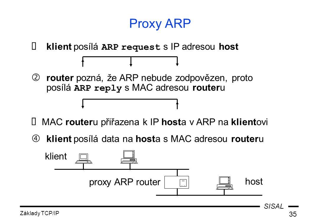 """SISAL Základy TCP/IP 35 Proxy ARP  klient posílá ARP request s IP adresou host klient proxy ARP router host ' router pozná, že ARP nebude zodpovězen, proto posílá ARP reply s MAC adresou routeru  MAC routeru přiřazena k IP hosta v ARP na klientovi """" klient posílá data na hosta s MAC adresou routeru"""
