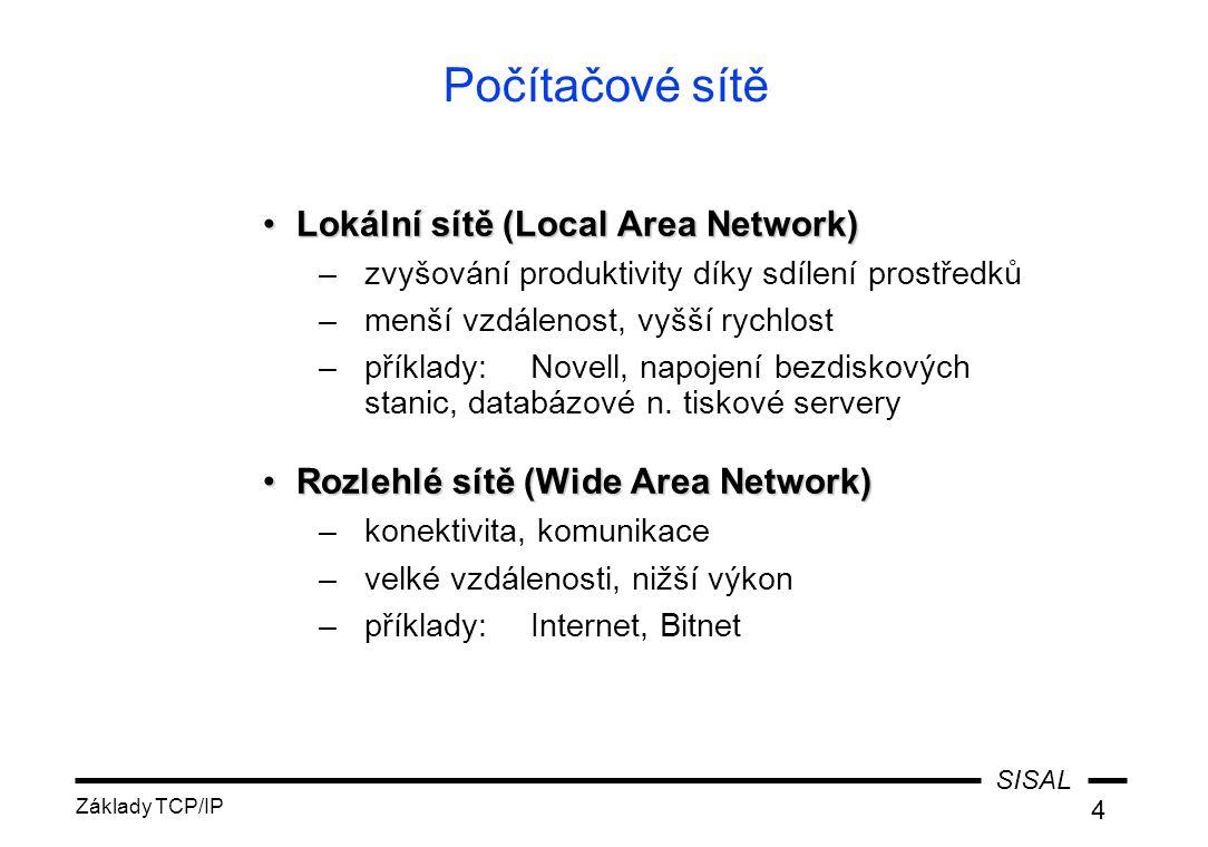 SISAL Základy TCP/IP 4 Počítačové sítě Lokální sítě (Local Area Network)Lokální sítě (Local Area Network) –zvyšování produktivity díky sdílení prostředků –menší vzdálenost, vyšší rychlost –příklady:Novell, napojení bezdiskových stanic, databázové n.