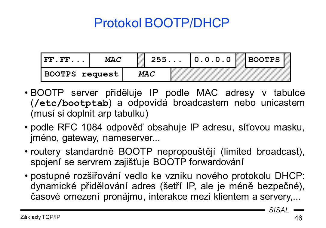 SISAL Základy TCP/IP 46 Protokol BOOTP/DHCP FF.FF...