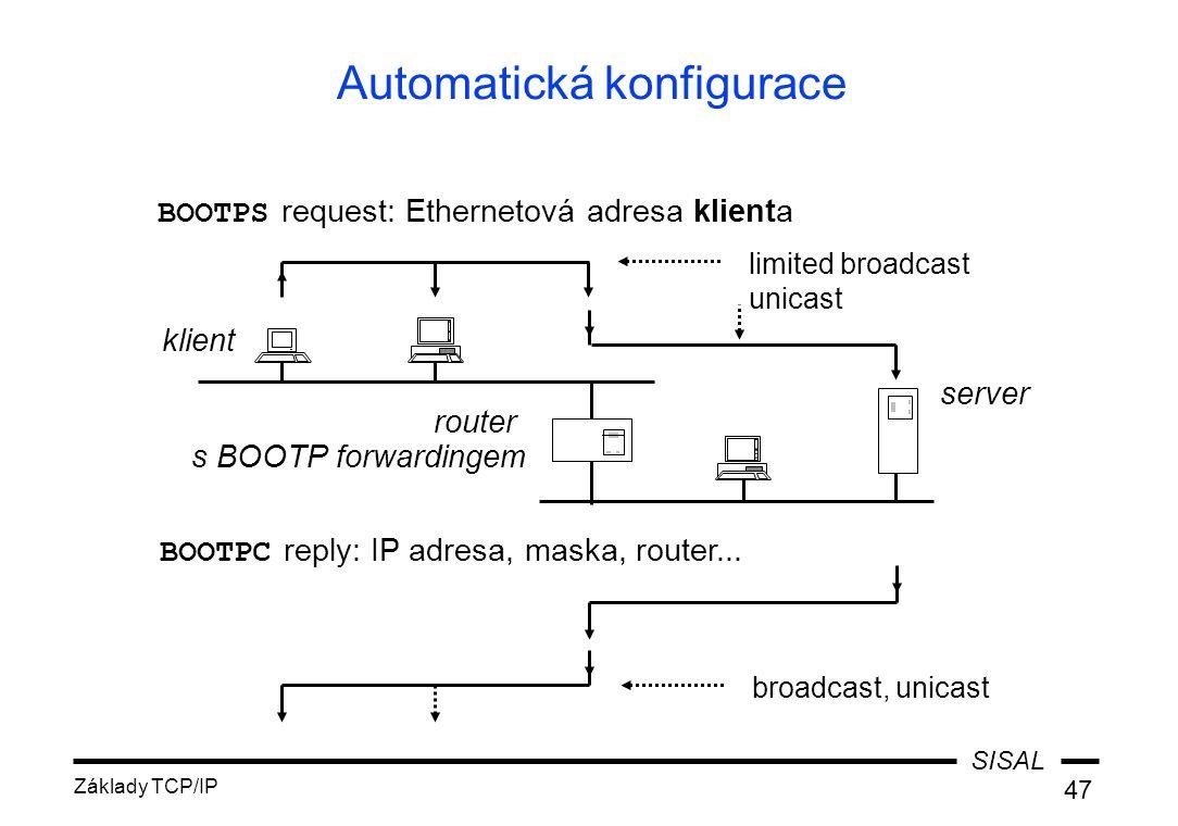 SISAL Základy TCP/IP 47 Automatická konfigurace BOOTPS request: Ethernetová adresa klienta klient router s BOOTP forwardingem BOOTPC reply: IP adresa, maska, router...