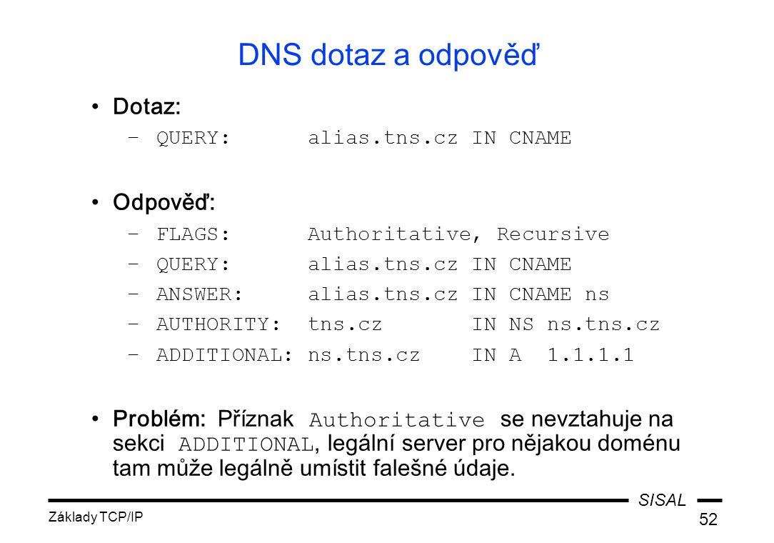 SISAL Základy TCP/IP 52 DNS dotaz a odpověď Dotaz: –QUERY: alias.tns.cz IN CNAME Odpověď: –FLAGS: Authoritative, Recursive –QUERY: alias.tns.cz IN CNAME –ANSWER: alias.tns.cz IN CNAME ns –AUTHORITY: tns.cz IN NS ns.tns.cz –ADDITIONAL: ns.tns.cz IN A 1.1.1.1 Problém: Příznak Authoritative se nevztahuje na sekci ADDITIONAL, legální server pro nějakou doménu tam může legálně umístit falešné údaje.